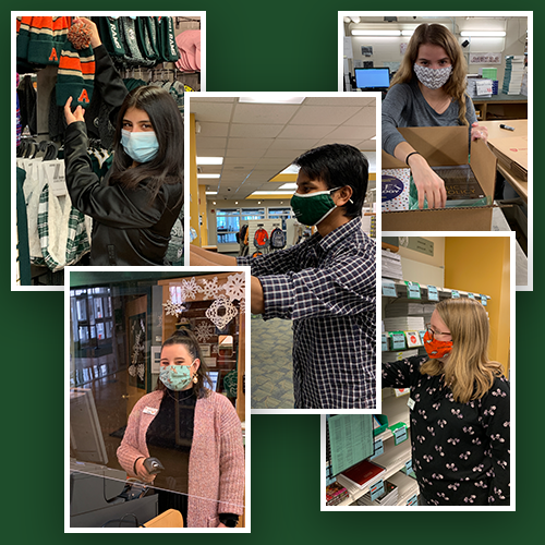 Student Employees working at the CSU Bookstore
