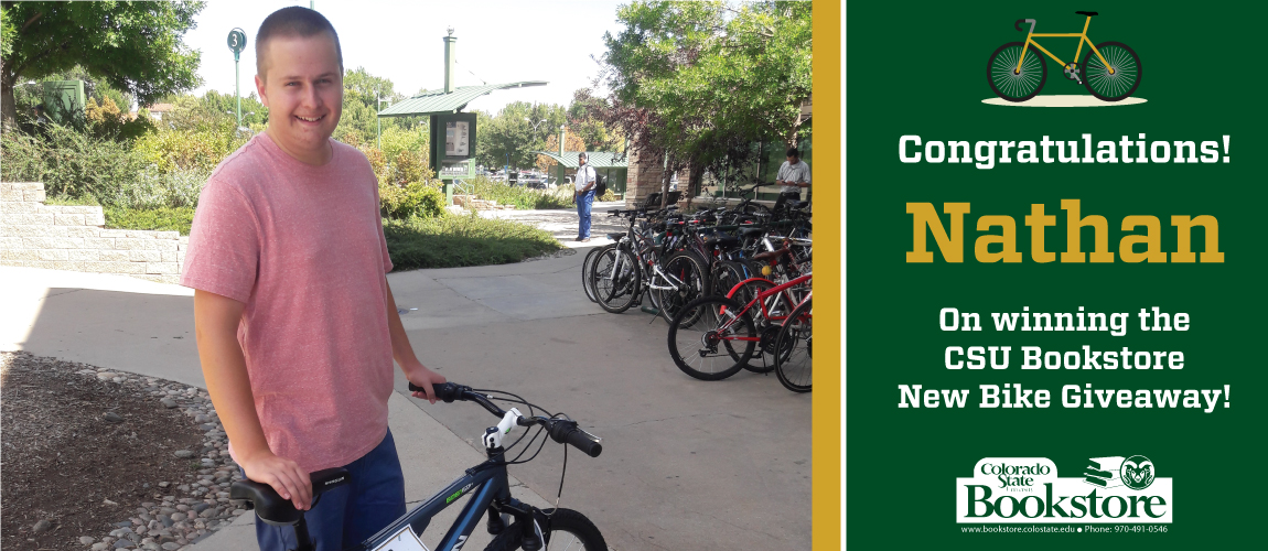 Congratulations to Nathan on Winning the CSU Bookstore New Bike Giveaway