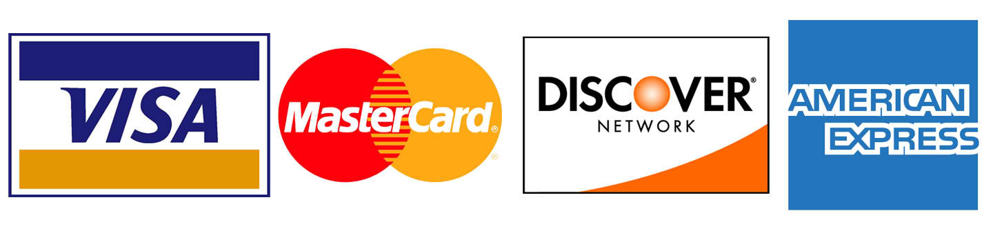 Logos of Credit Cards CSU Bookstore accepts - Visa, Mastercard, American Express, and Discover