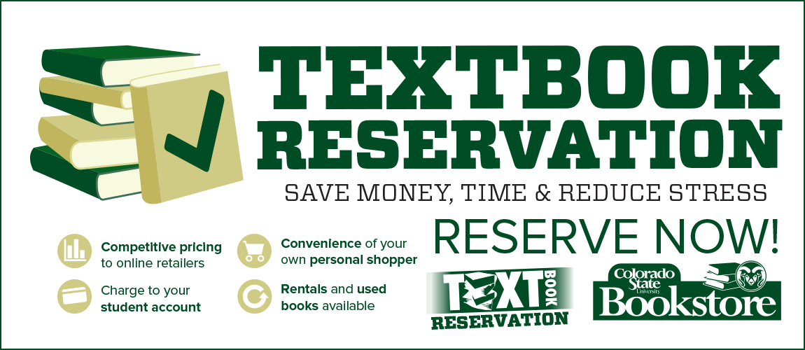 Reserve your textbooks for Spring 2018 from the CSU Bookstore!