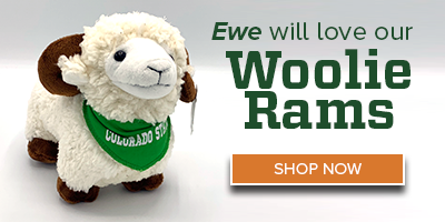 Image of a stuffed CSU Rams mascot with the text Ewe Will Love Our Woolie Rams - Shop Now