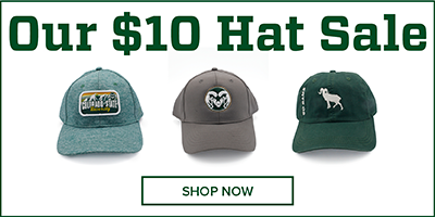 Image of Three CSU Rams hats with text reading 'Our $10 Hat Sale'