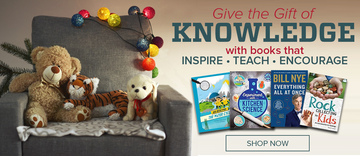 Give the Gift of Knowledge with books from CSU Bookstore that Inspire - Teach - Encourage. Three stuffed animals sit on a chair with holiday decorations. To the right of the chair are four books.