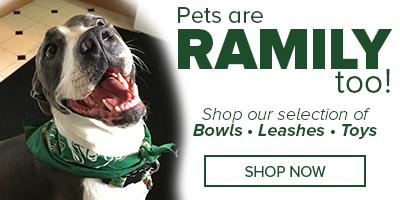 Image of a dog wearing a CSU bandana with the text reading Pets are Ramily Too - Shop now for Pet leashes, toys and accessories.