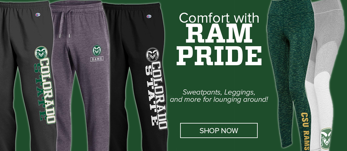 Text which reads Comfort With Ram Pride and images of sweat pants and tights on the banner.