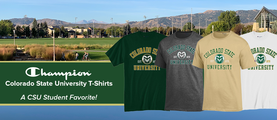 CSU Rams T-Shirts By Champion from the CSU Bookstore! A favorite among Colorado State University students and CSU Rams Fans alike!