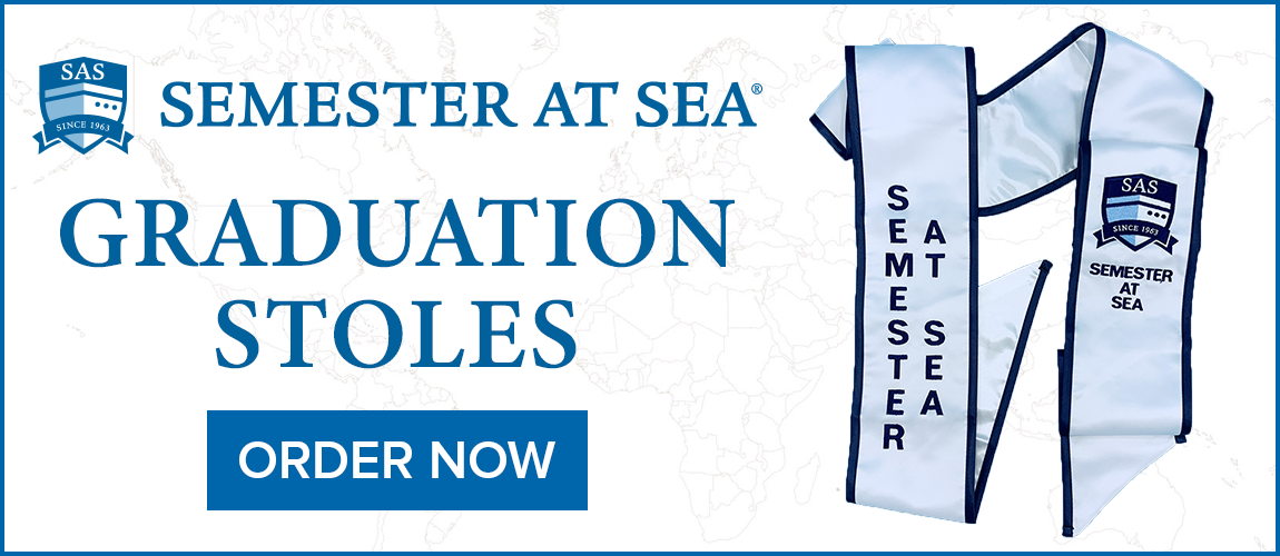 Semester at Sea Graduation Stoles - Available now from the CSU Bookstore!