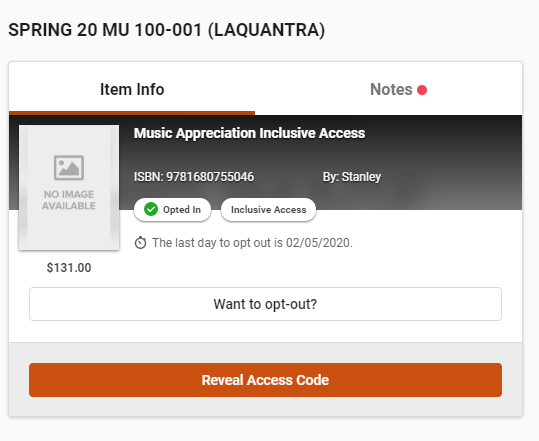 Example of Inclusive Access option with no access code