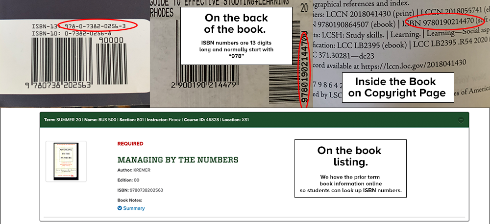 Illustration showing students how to find the International Standard Book Number (ISBN) for books they are wishing to sell back to the CSU Bookstore.