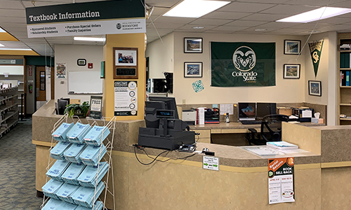 image of the Textbook Info Counter at the CSU Bookstore.