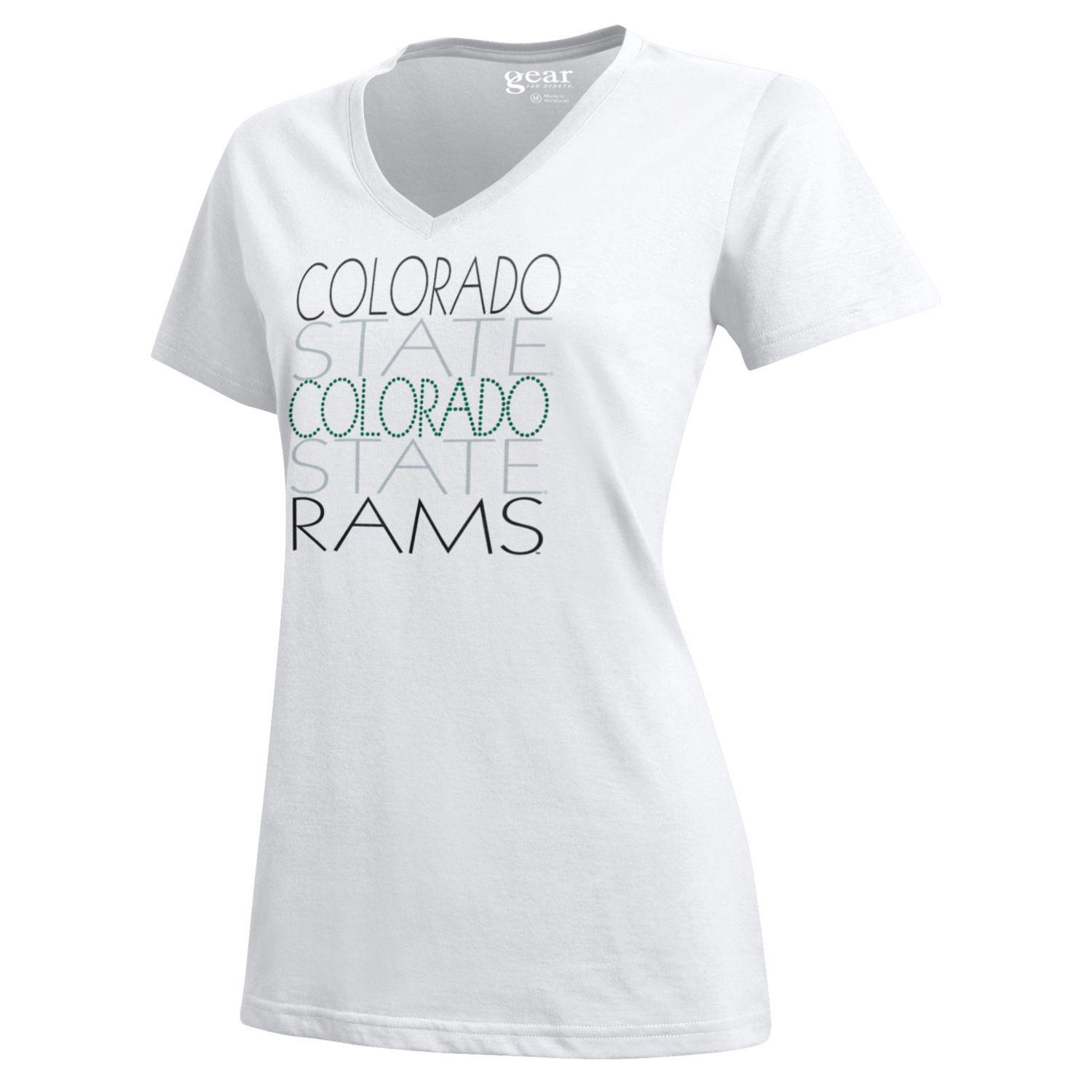 White Stacked Colorado State University Gear Tee