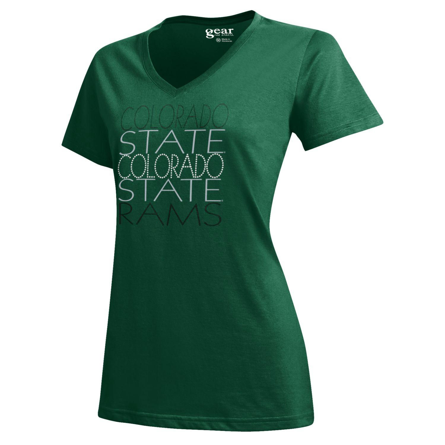 Green Stacked Colorado State University Gear Tee