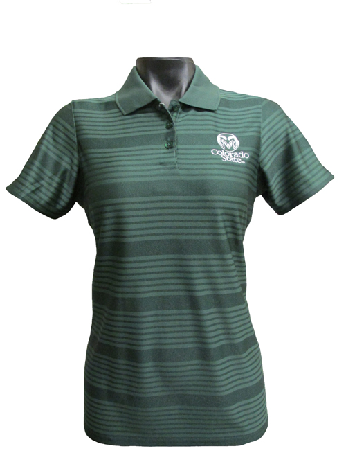 Women's Green Colorado State Stripe Antigua Polo