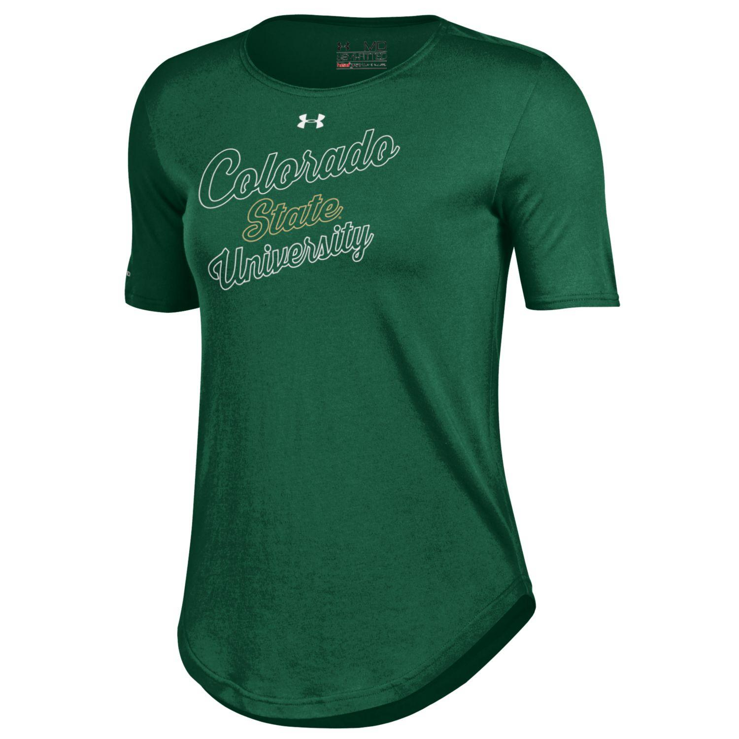 Green Colorado State University Script Under Armour Tee