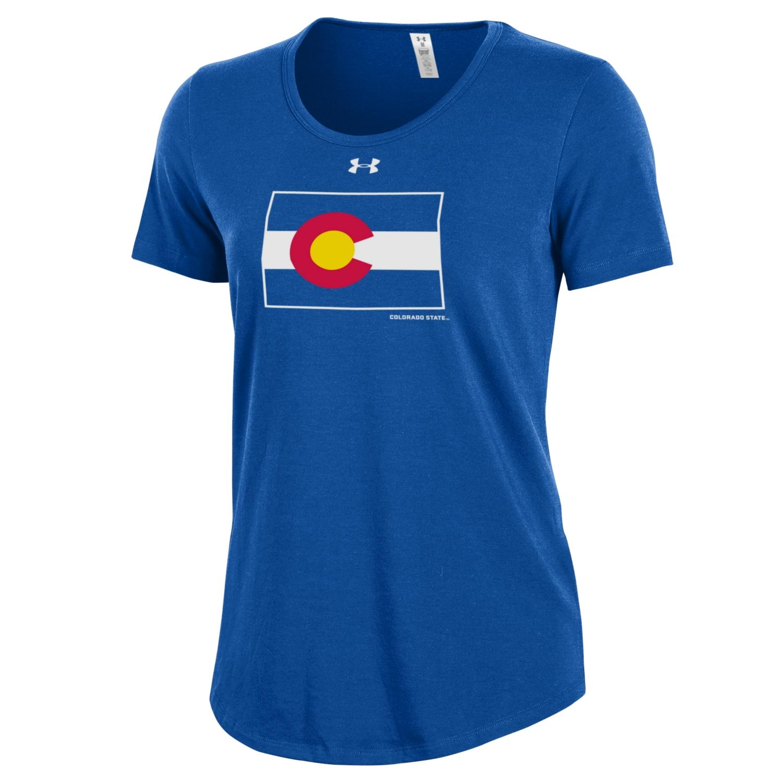 Women's Royal Blue Colorado State Pride Flag UnderArmour Tee