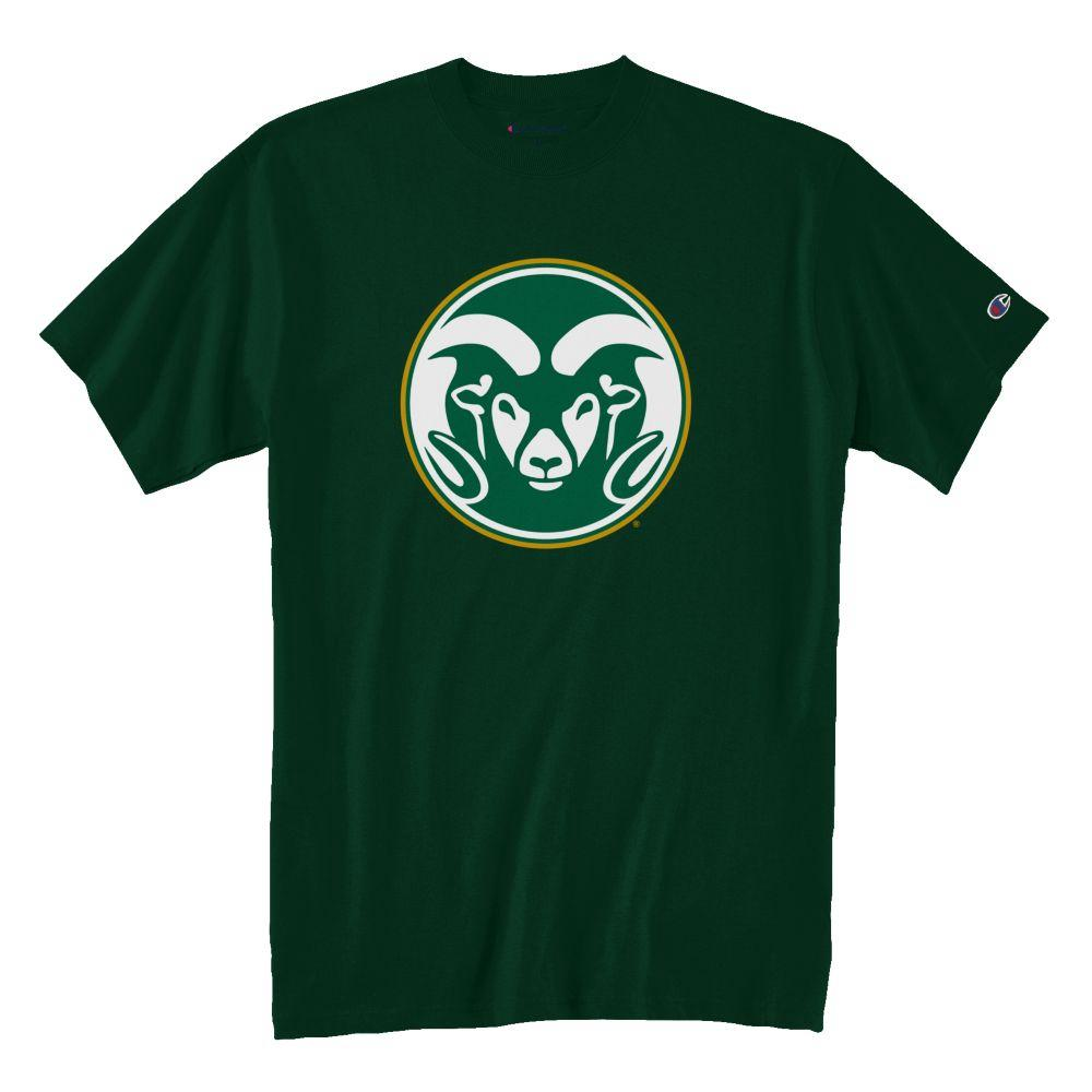 Image For Champion® Large Ram Head Colorado State Green Tee
