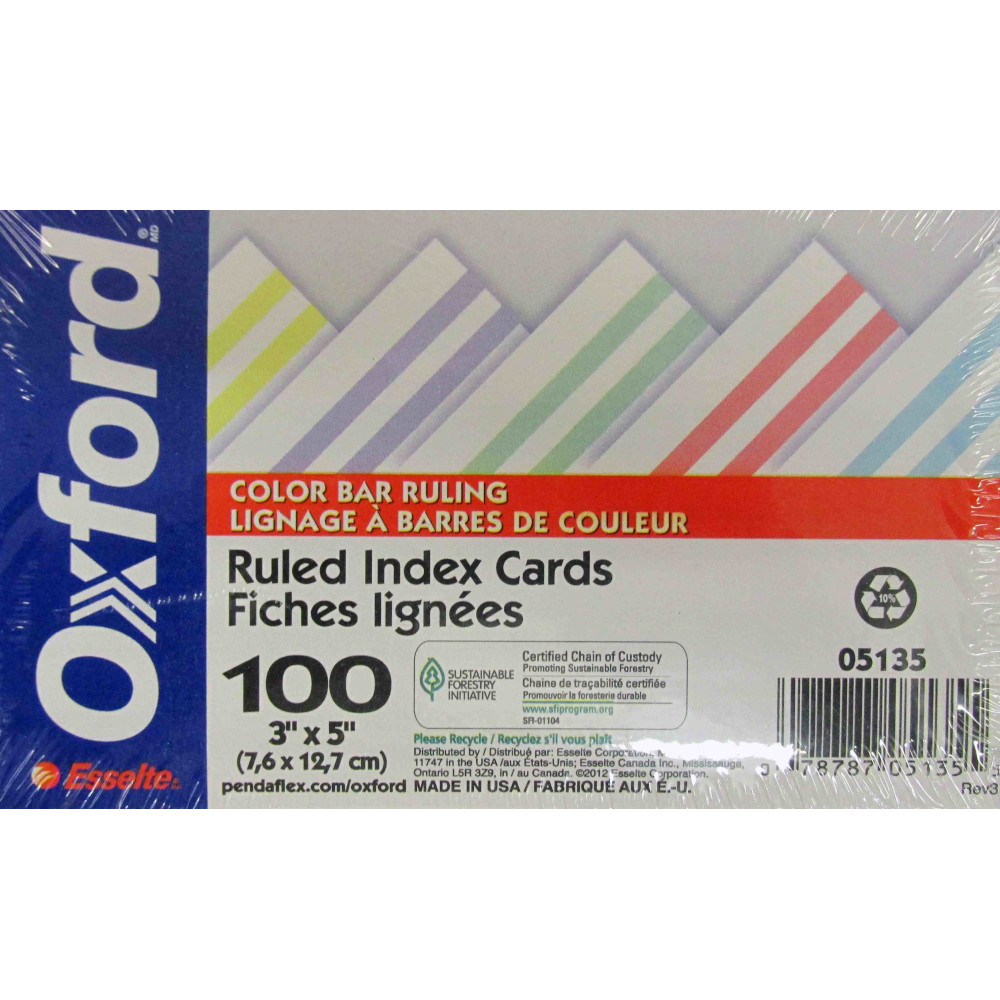 "Cover Image For Oxford 3"" X 5"" Colored Bar Ruled Index Cards"