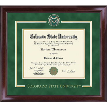 Image For CSU Spirit Medallion Diploma Frame Encore with Green Suede