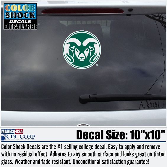 Large green white ram head colorado state university decal