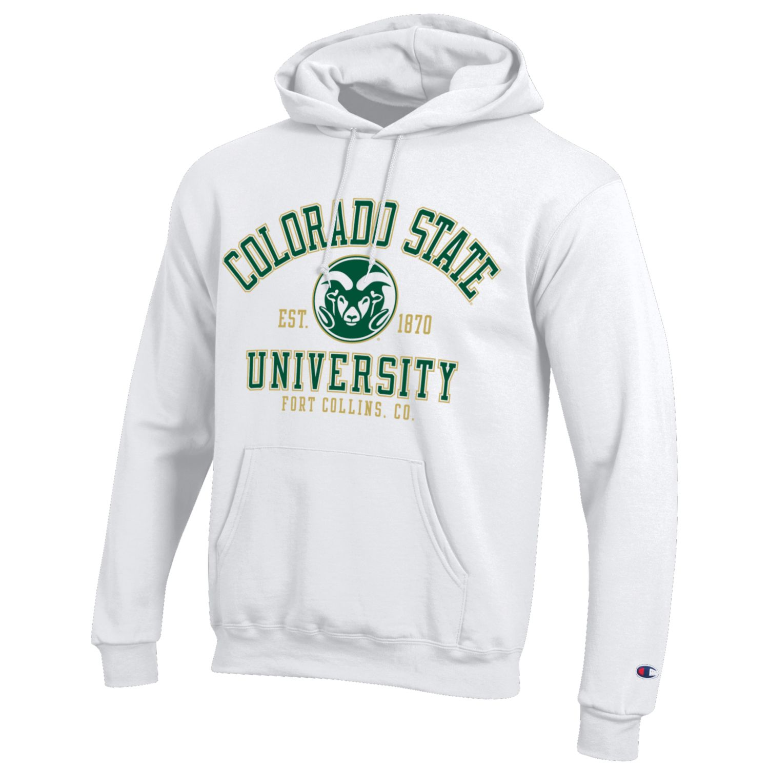 Cover Image For White Champion Colorado State University Hooded Sweatshirt
