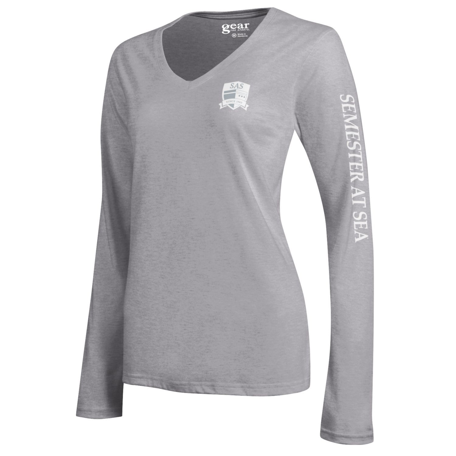 Image For Oxford Grey Long Sleeve Mia V-Neck Tee