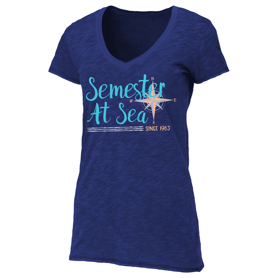 Image For Women's Navy Blue Semester At Sea V-Neck Tee