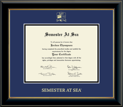 Cover Image For Semester at Sea Gold Embossed Certificate Frame