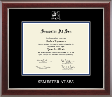 Image For Semester at Sea Silver Embossed Certificate Frame