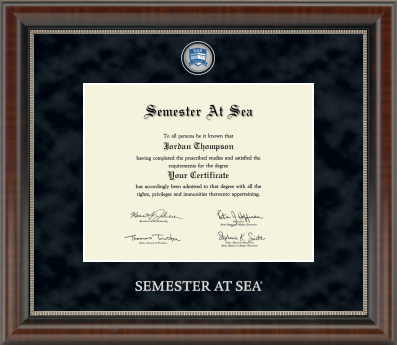 Cover Image For Semester at Sea Regal Chateau Certificate Frame