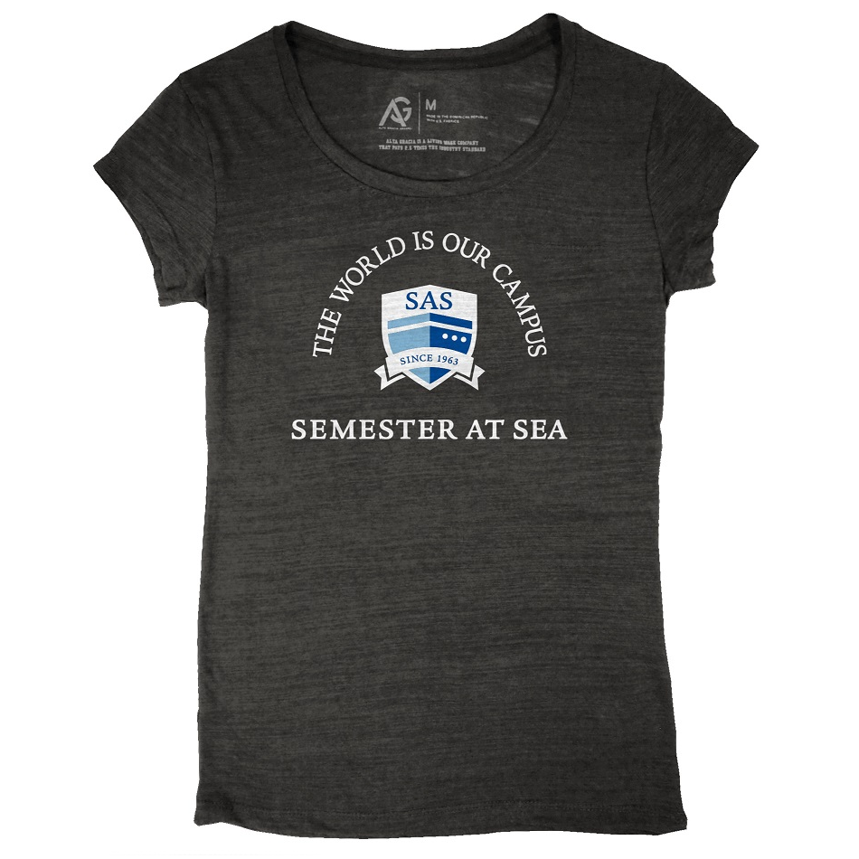 Image For Black Women's Semester At Seas Scoop T-Shirt