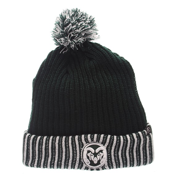 Image For CSU Forest with White Frigid Knit Hat