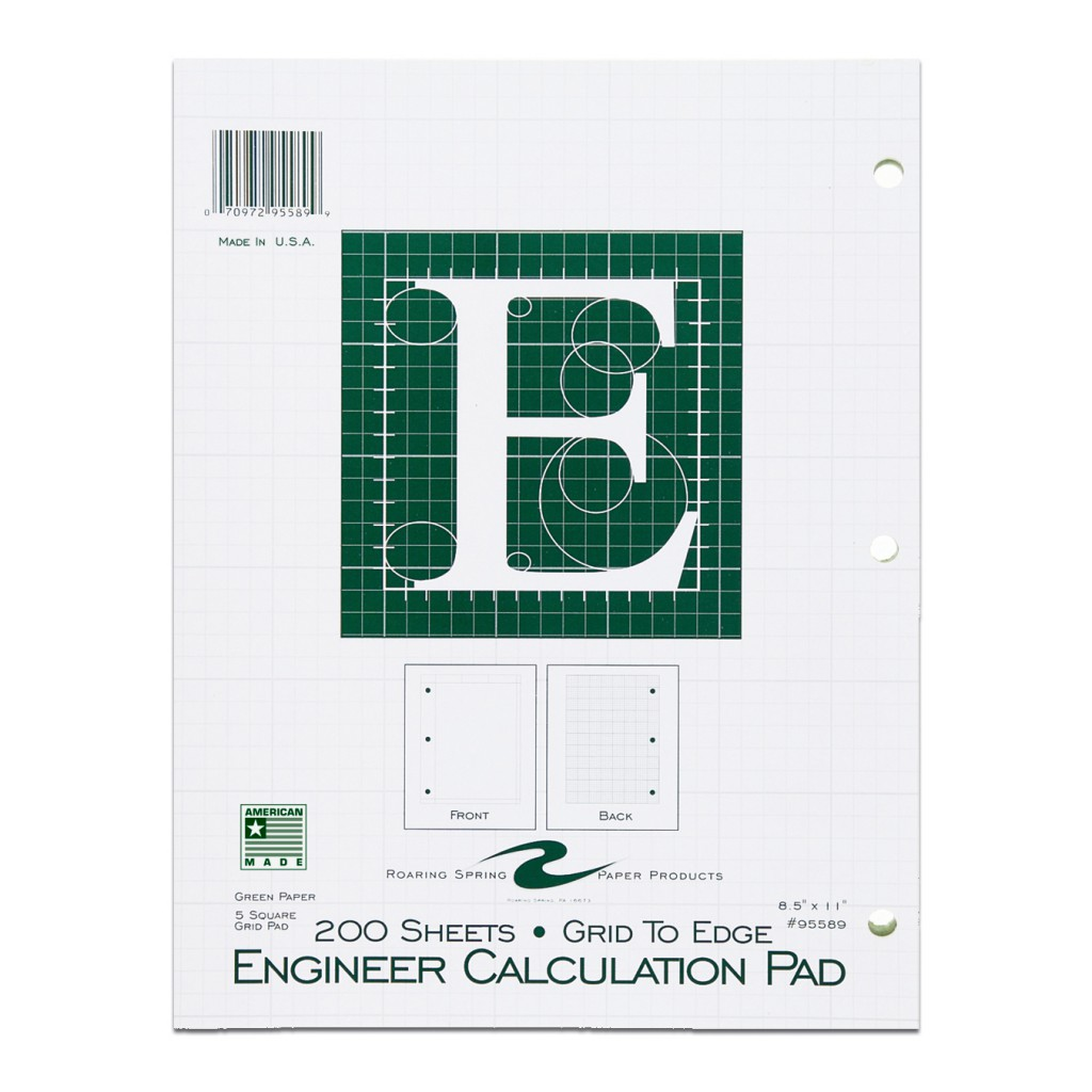 "Image For Engineer Filler Paper - 8.5"" x 11"" Green - 200 Sheets"