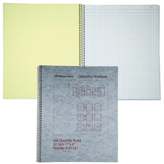 "Image For National Brand 43-647 Lab Notebook, 11"" x 9"", Quad Ruled"