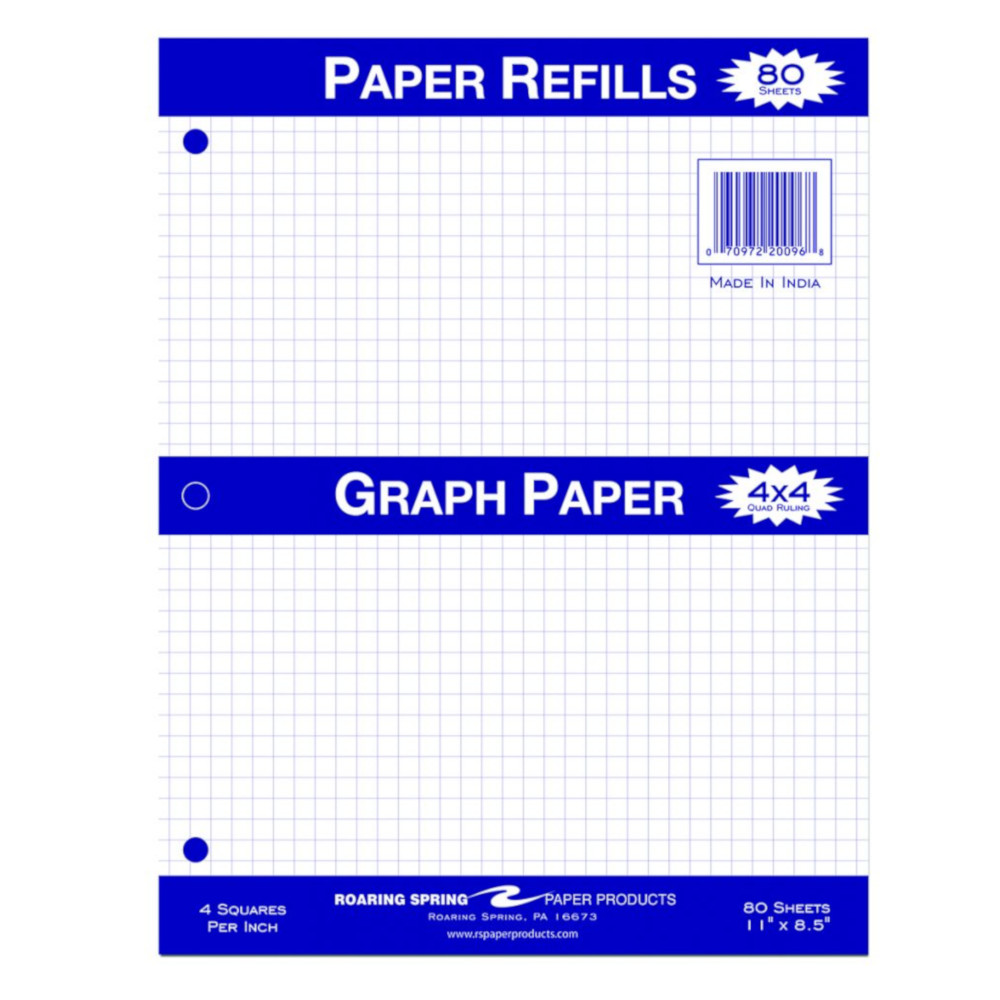 Image For Graph Paper - 4x4 Quad Ruled - 80 Sheets
