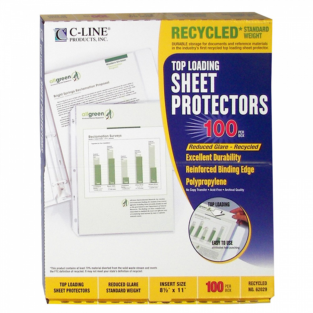Image For Recycled Standard Weight Poly Sheet Protectors
