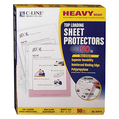Image For C-Line Heavyweight Non-Glare Poly Sheet Protectors