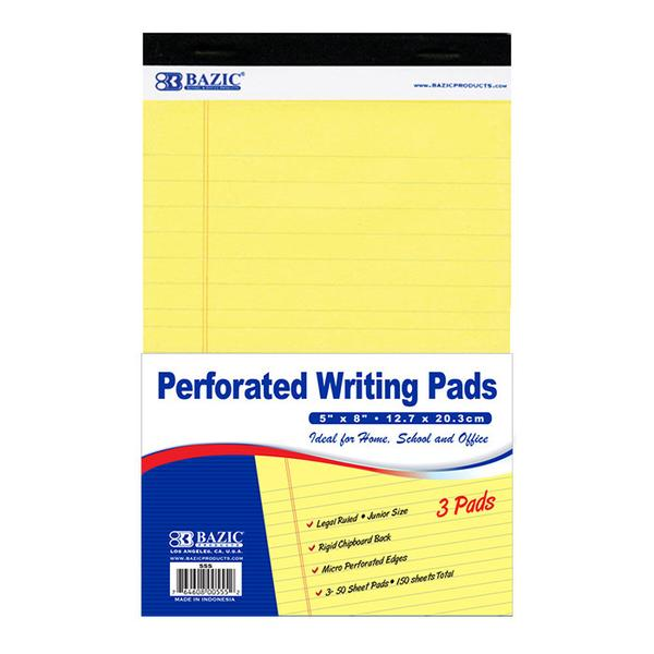"Image For Bazic 5"" X 8"" Canary Jr. Perforated Writing Pad 3 pack"