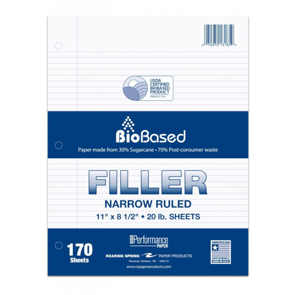 Image For Biobased Narrow Ruled Filler Paper