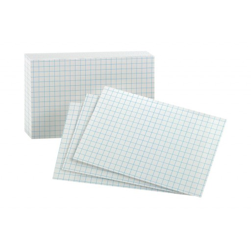 Image For Oxford Grid Design Index Cards, 3 X 5, White, 100 Per Pack