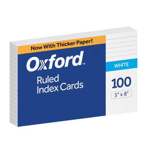 "Cover Image For Oxford™ Ruled Index Cards, 5"" X 8"", White, 100 Pack"