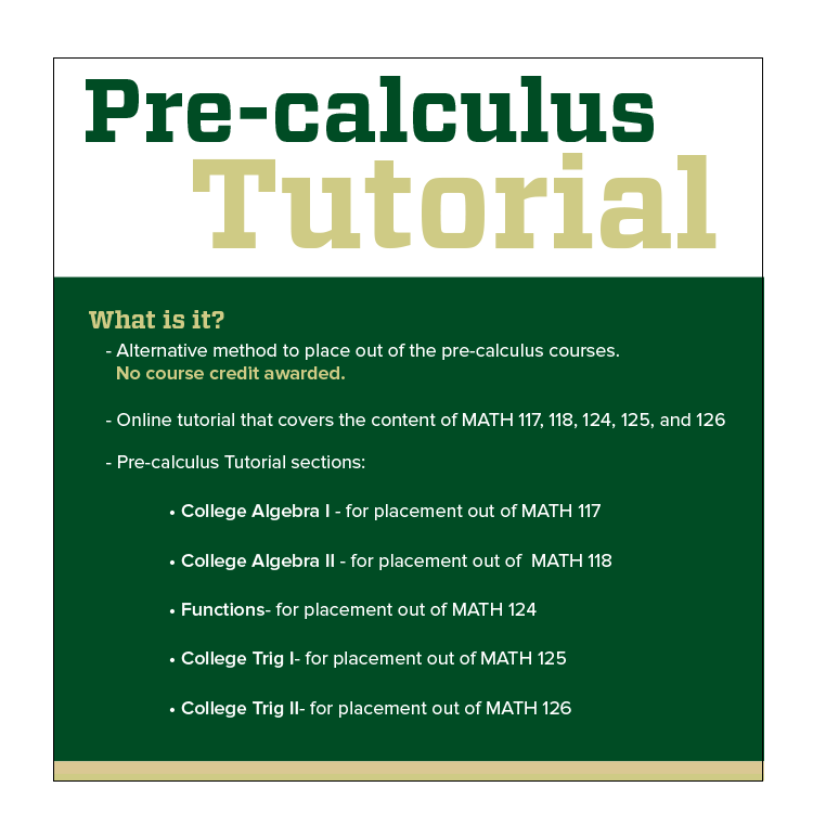 Cover Image For CSU Math PreCalculus Tutorial Access Code
