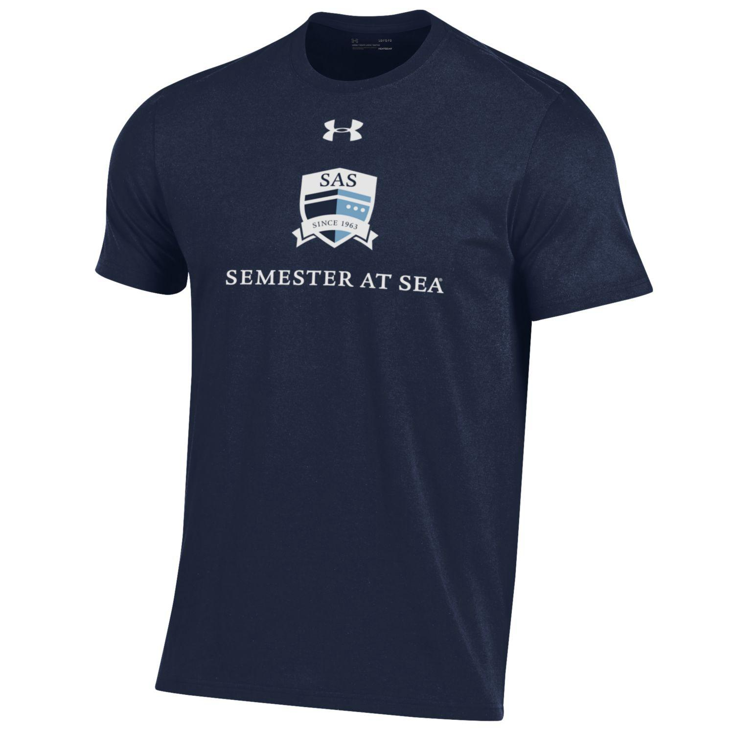 Image For Semester at Sea Youth Under Armour Midnight Navy Tee