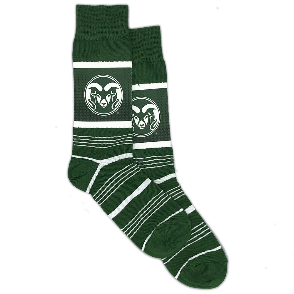 Image For Green CSU Striped Socks