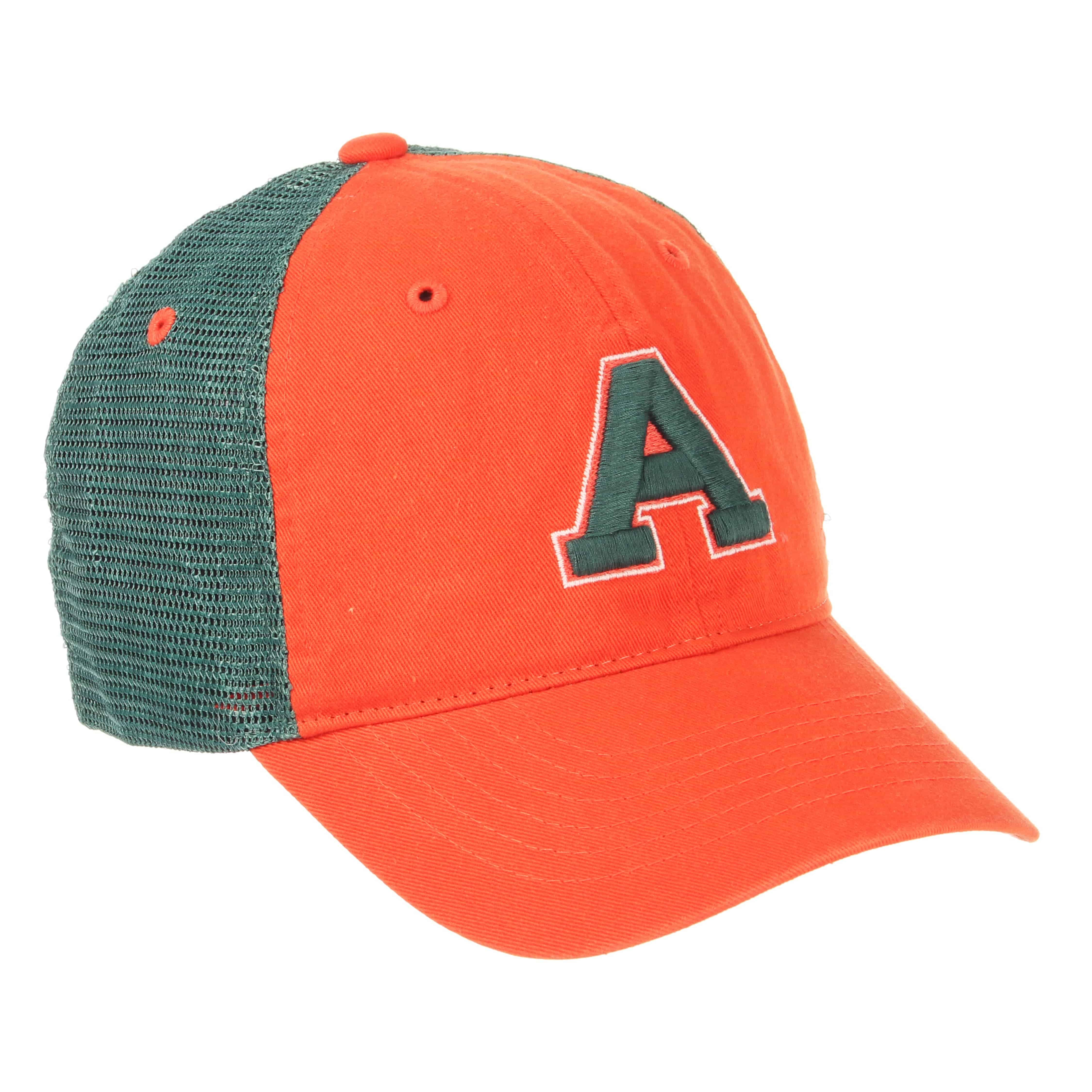 "Cover Image For Orange and Forest Green Aggie ""A"" Hat by Zephyr"