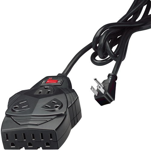 Image For Mighty 8 6' Black 8-Outlet Surge Protector, 1300 Joules