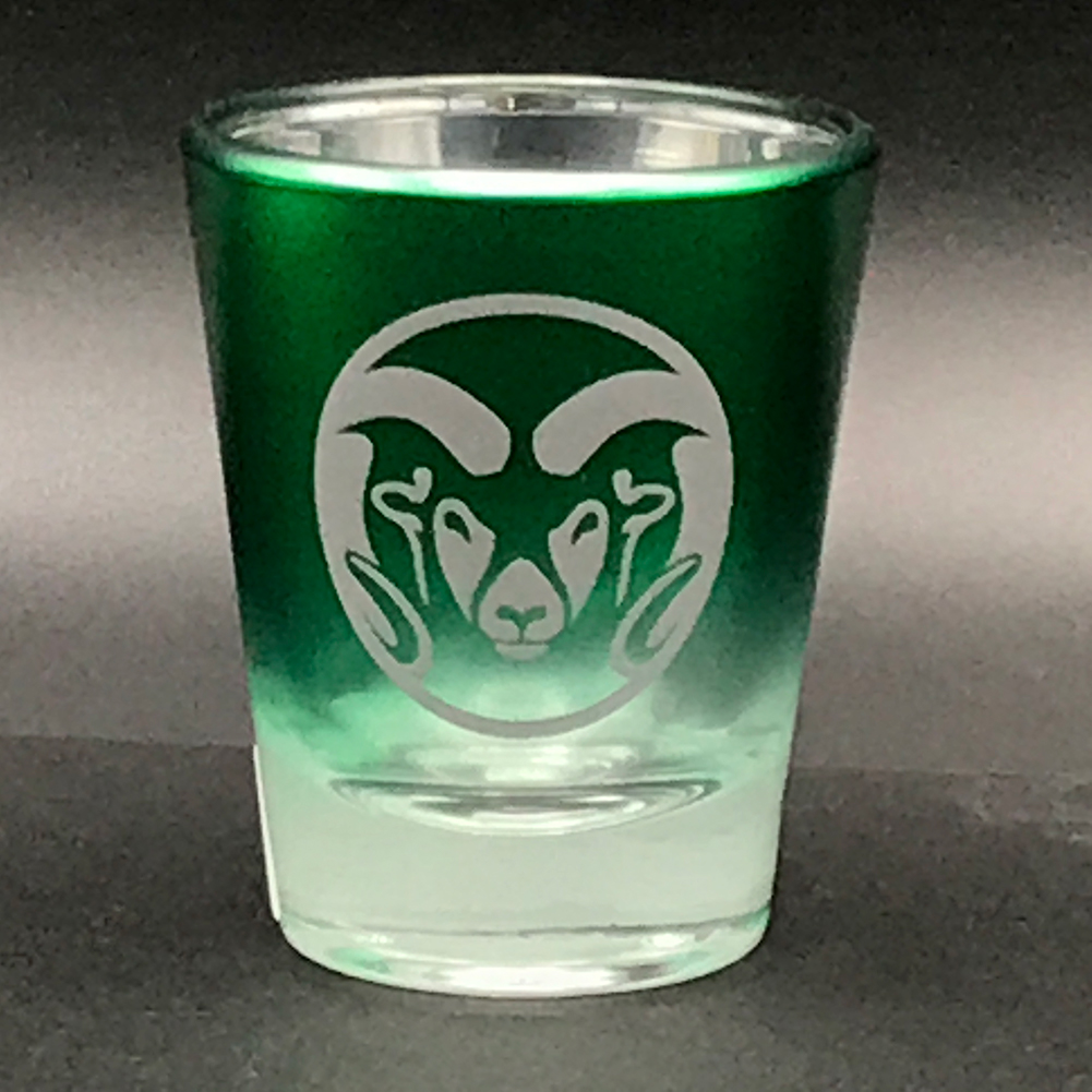 Image For Green Chrome Ram Head Shot Glass