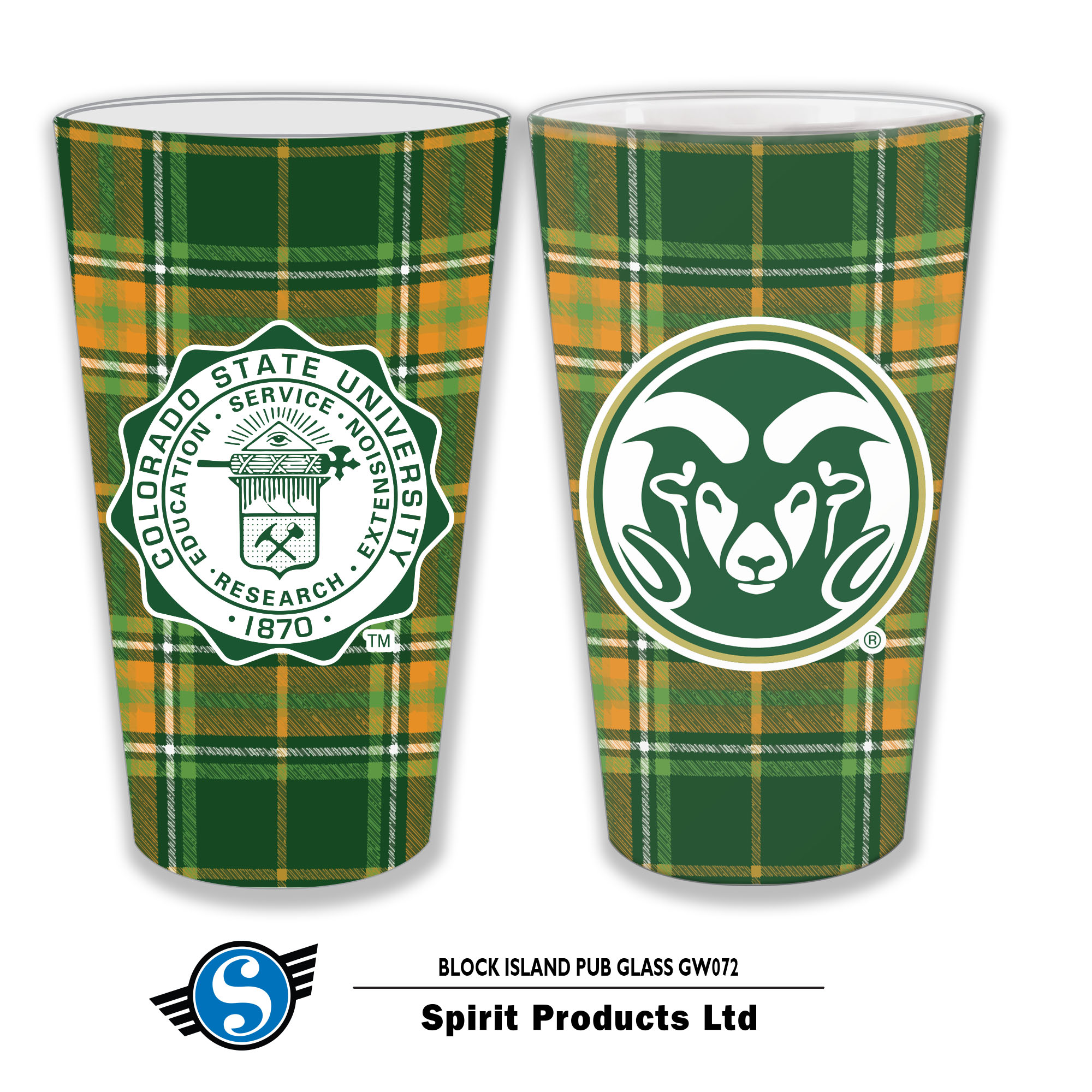 Cover Image For CSU Block Island Tartan Pint Glass