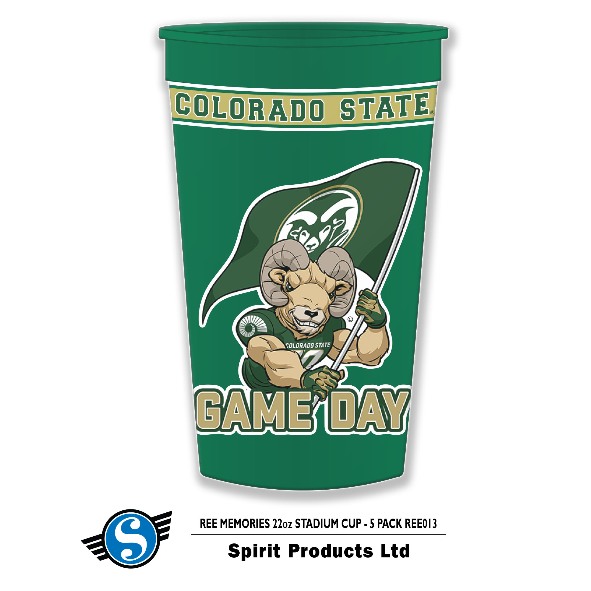 Image For Colorado State Game Day Cam the Ram Stadium 22 OZ Cup
