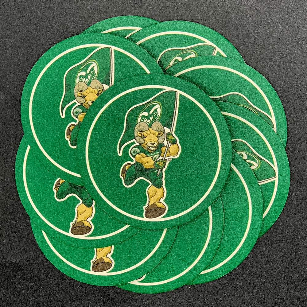 Image For Colorado State University Cam the Ram 10 Pack Coasters Round