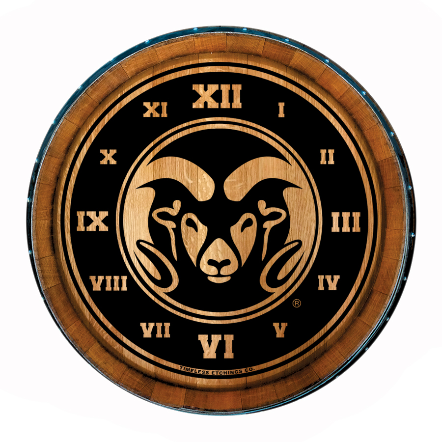 Image For Colorado State University Wooden Barrel Head Clock